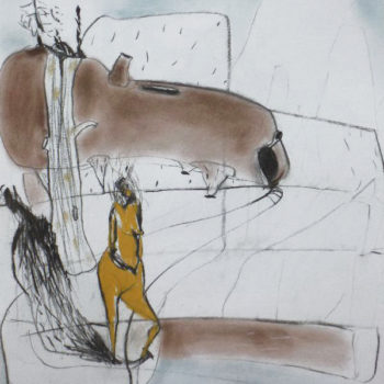 Ritueel(2), houtskool en pastel op papier, 50:65cm, 2010