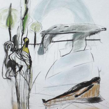 Ritueel (1), houtskool en pastel op papier, 50:65cm, 2010