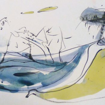 Eiland, OI inkt en aquarel op papier, 20:30cm,2012