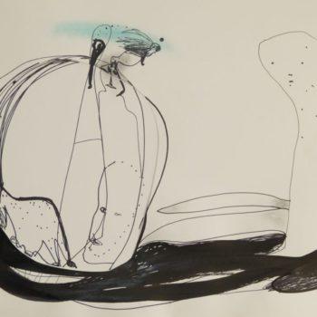 Op weg, viltstift en o. i. inkt, 65 x 50 cm, 2016