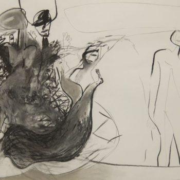 Schermutseling, houtskool, 100 x 75 cm, 2014