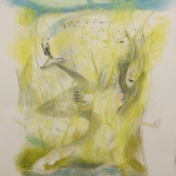 Verdwaald in het koolzaadveld, houtskool en pastel, 85 x 110 cm, 2016