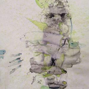 Fontein; inkt en kleurpotlood